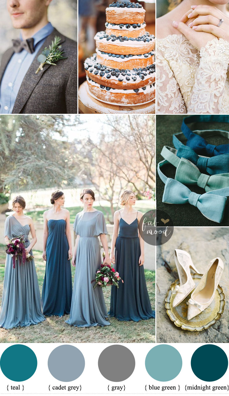 Different shades of blue green Wedding { Midnight Green + gray + ...
