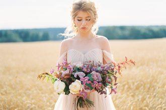 A Blush Wedding Gown for A Dreamy Autumn Wedding