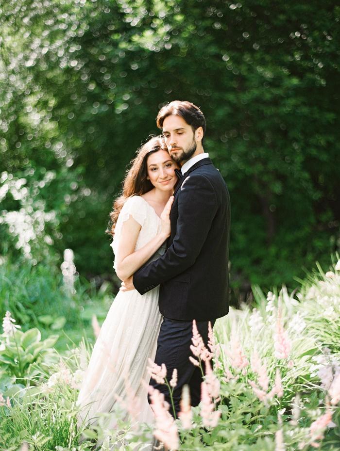 bride in milky wedding dress + groom in tuxedo   photo by Elena Pavlova   Fab Mood - UK wedding blog #styledshoot