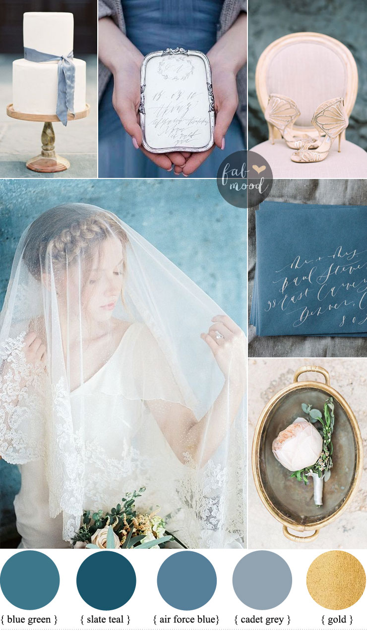 Shades of blue wedding motif { slate teal + blue green + gold } for vintage wedding Fab Mood - UK wedding blog #bluegreen #wedding