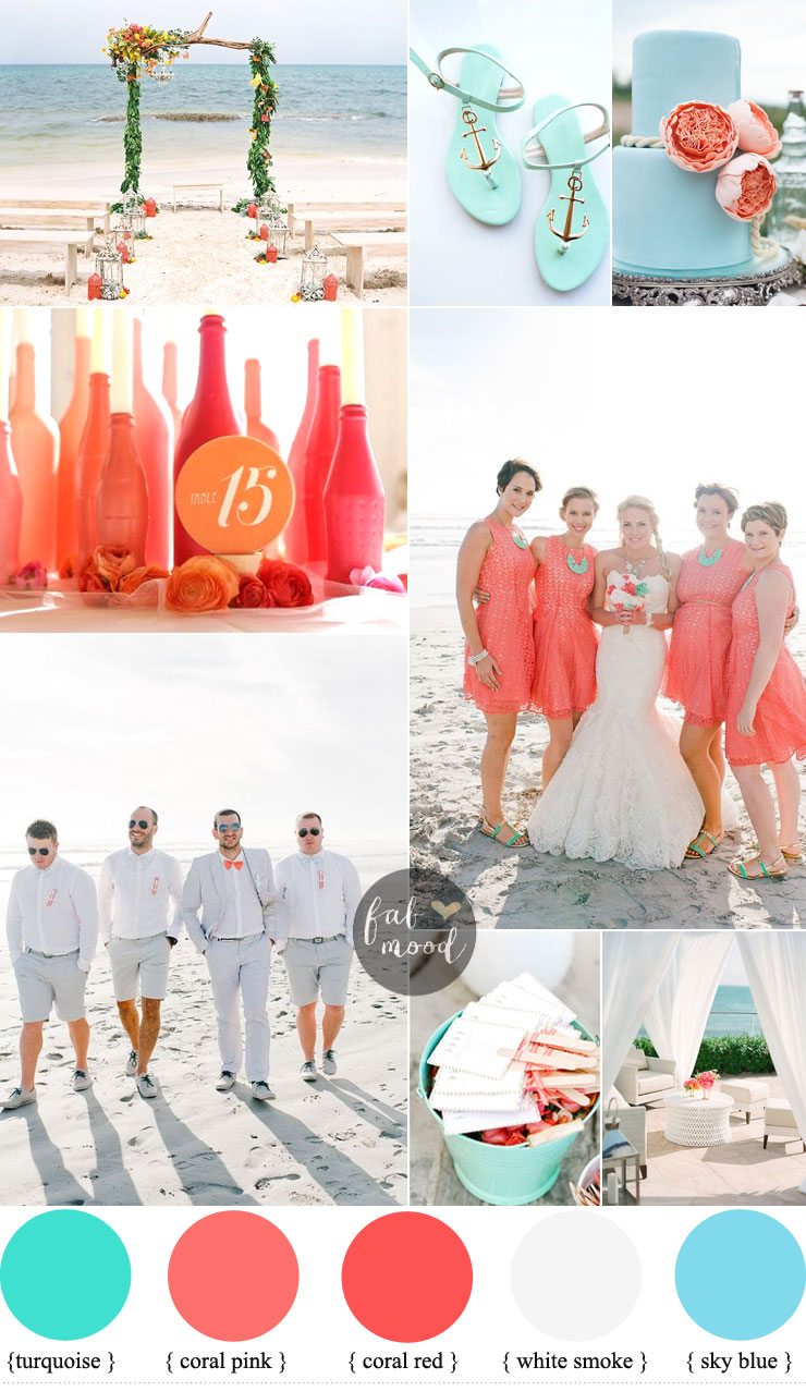 Inspirational beach wedding ideas { Shades of Coral + Turquoise }