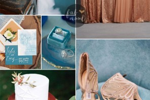 #Teal and #Copper Wedding Palette + Copper Bridesmaids Dresses | Fab Mood