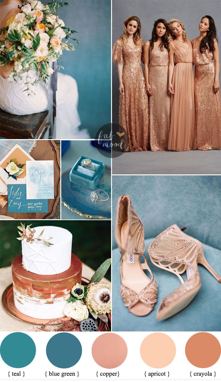Teal and Copper Wedding color ideas + Copper Bridesmaids Dresses