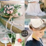 Blush Pink and Slate Blue Wedding Colours For Vintage Wedding