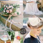Blush Pink and Slate Blue Wedding Colours For Vintage Wedding