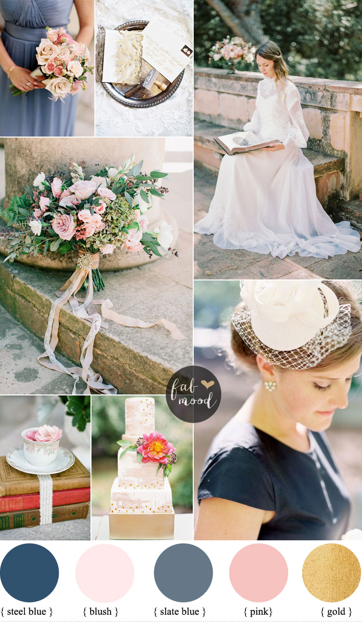 Blush Pink And Slate Blue Wedding Colours For Vintage Fabmood