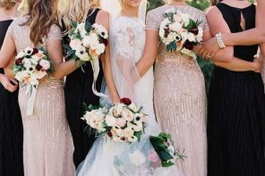 Liancarlo wedding dress blush gold and black bridesmaids dresses