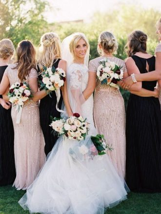 Liancarlo wedding dress blush gold and black bridesmaids dresses