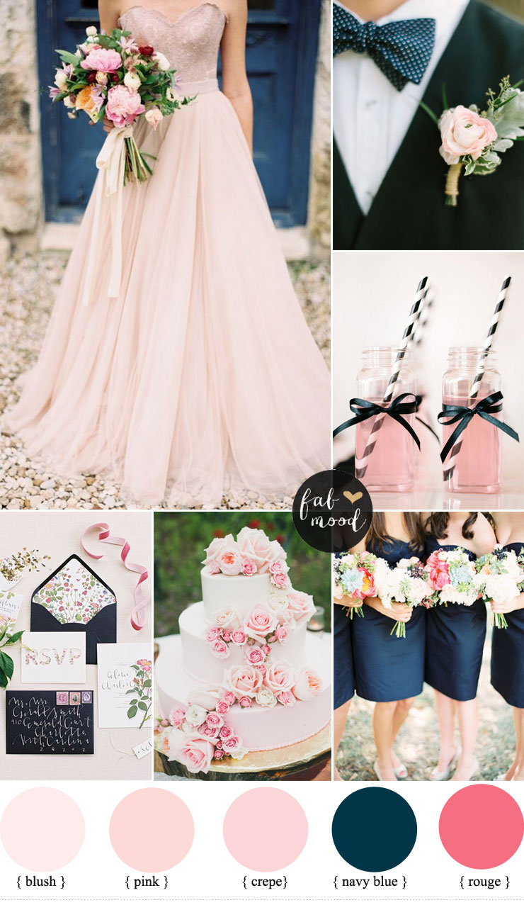 Blush pink and navy blue wedding colour schemes