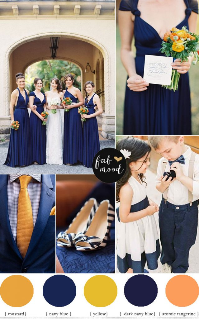 navy blue and orange wedding colour palette fabmood