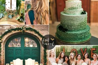 Emerald and Gold Wedding Colour for Vintage Wedding Theme