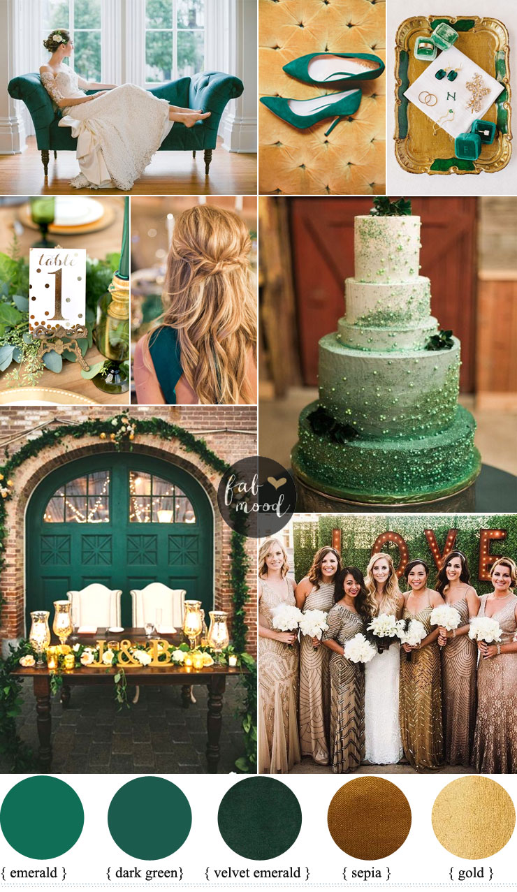 Emerald and gold wedding colour for vintage wedding theme for Vintage theme ideas