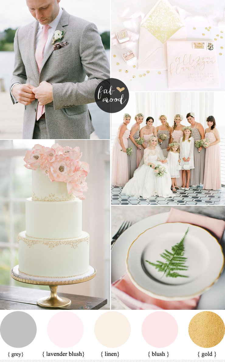 Gray and pink wedding colors,Blush + linen + gold wedding palette