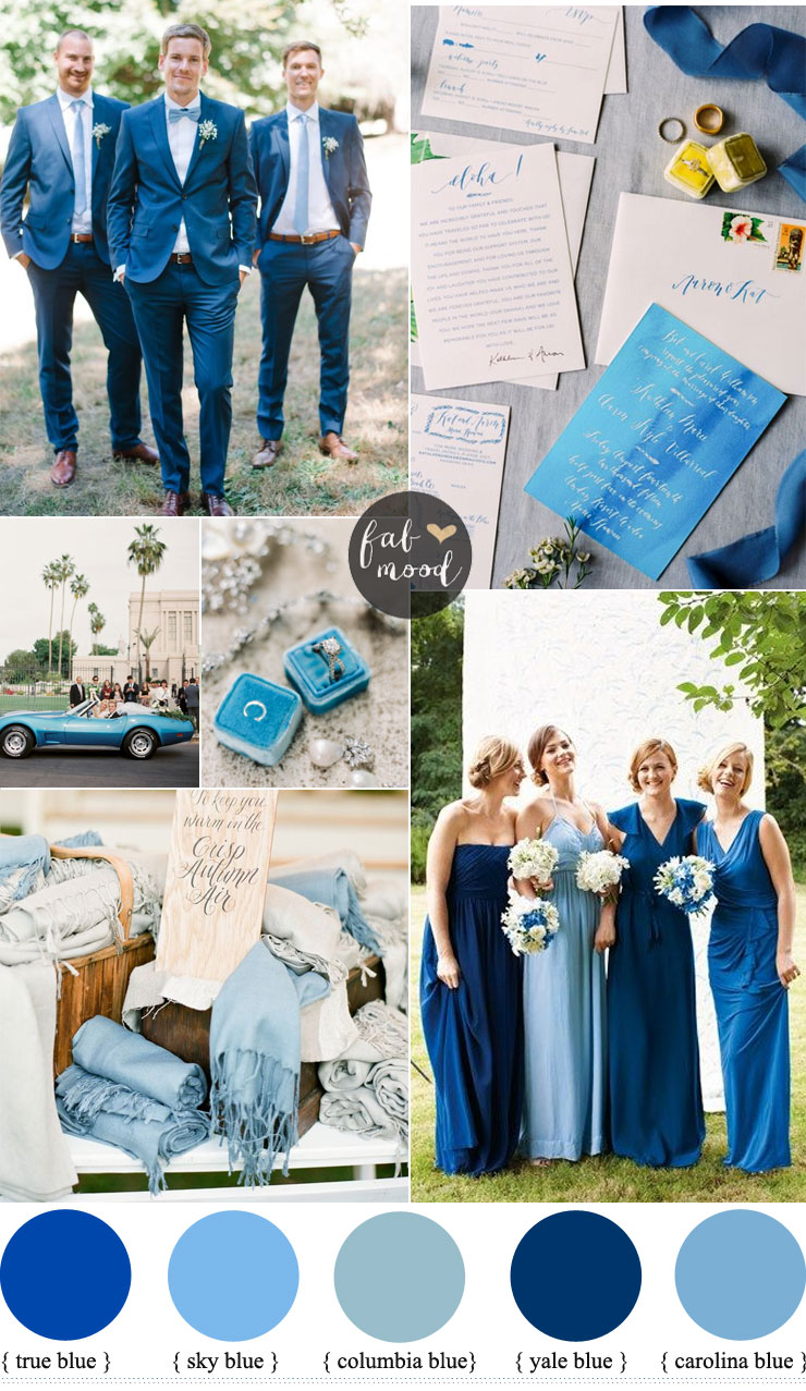 Mismatched blue bridesmaid dresses for a blue wedding for Baby blue wedding decoration ideas