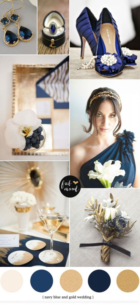 Navy blue and gold wedding colour combinations