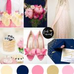 Navy blue pink and gold wedding theme