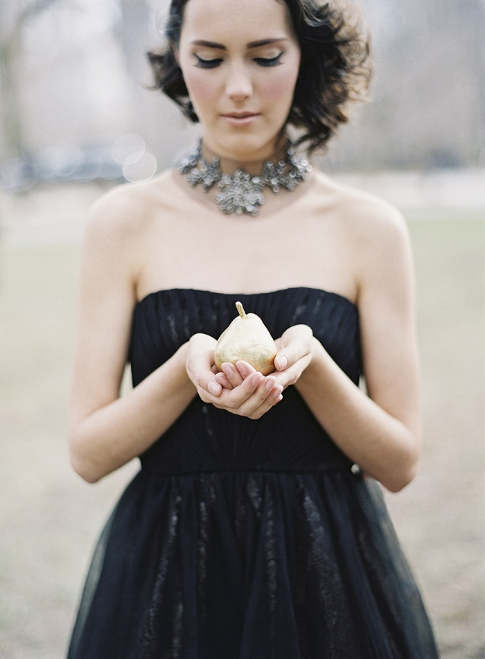Stylish + modern winter wedding editorial in black and gold