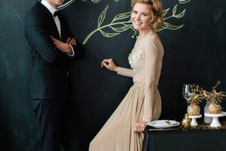 bride in light gold wedding dress - love chalk board wedding backdrop | fabmood.com