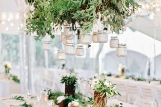 Greenery wedding chandeliers