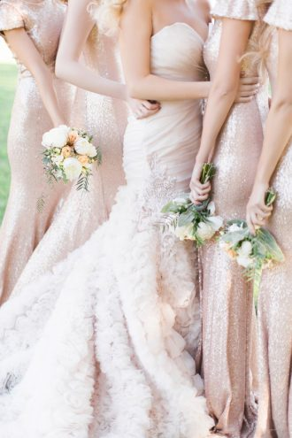 Roz la Kelin Wedding Dress & Gold bridesmaid dresses