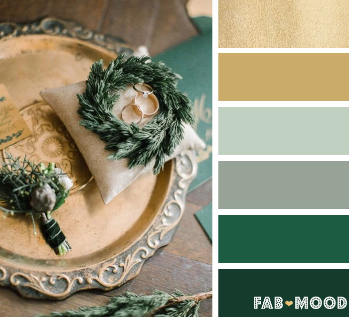 antique gold and emerald green winter wedding color palette fab mood - Green And Gold Color Scheme