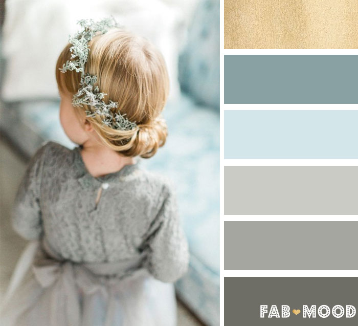 Blue grey + Dusty blues, crisp whites, and luxurious greens - Winter wedding color Palette | fab mood