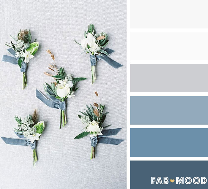 Shades of blue ,blue grey and white Winter wedding color Palette | fab mood