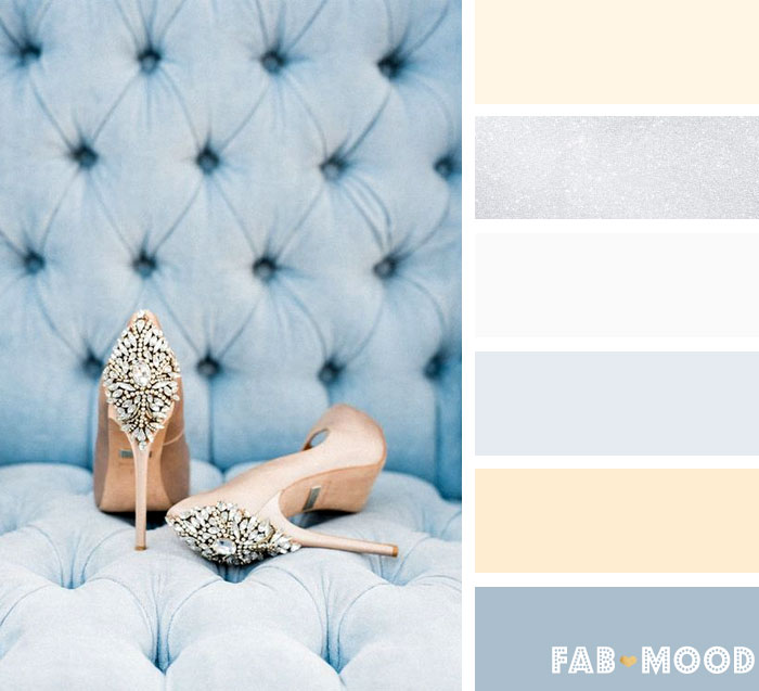 Icy Blue and soft peach Winter wedding color Palette | fab mood