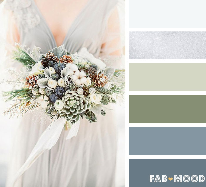 Greyed Jade, silver and white winter wedding color palette | fab mood