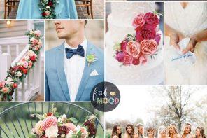 Cranberry, Sky blue wedding Colour combinations for Autumn wedding | fab mood