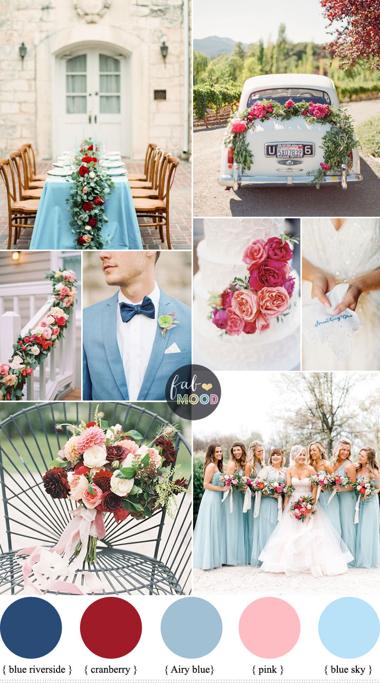 Cranberry, Sky blue wedding Colour combinations for Autumn wedding