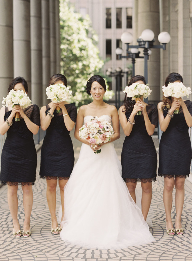Wedding Party - Black bridesmaid dresses + white bouquets | fabmood.com