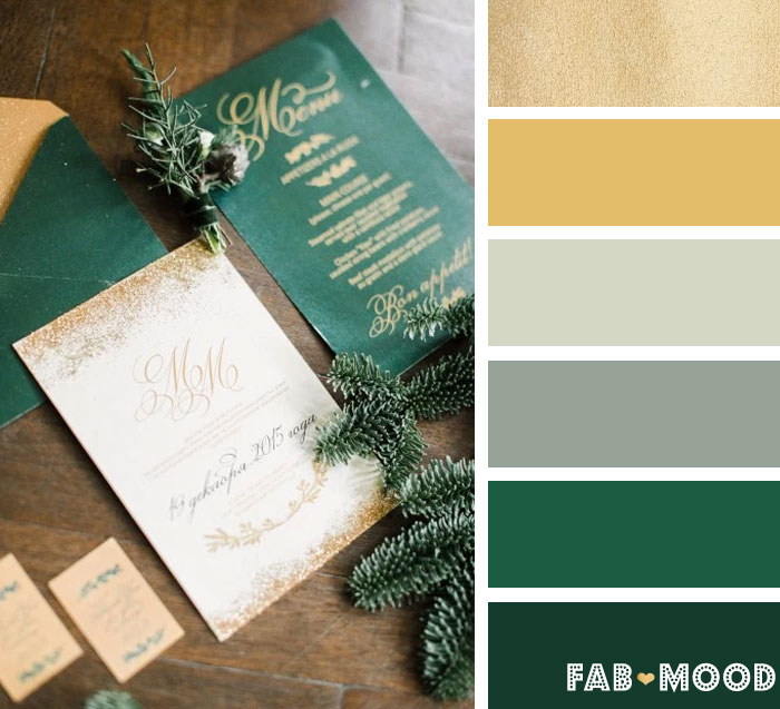 emerald green and gold winter wedding color palette fab mood - Green And Gold Color Scheme