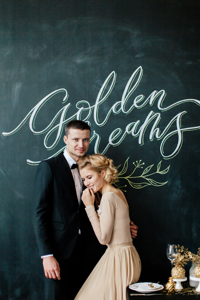 Gold themed wedding, light gold wedding dress | fabmood.com