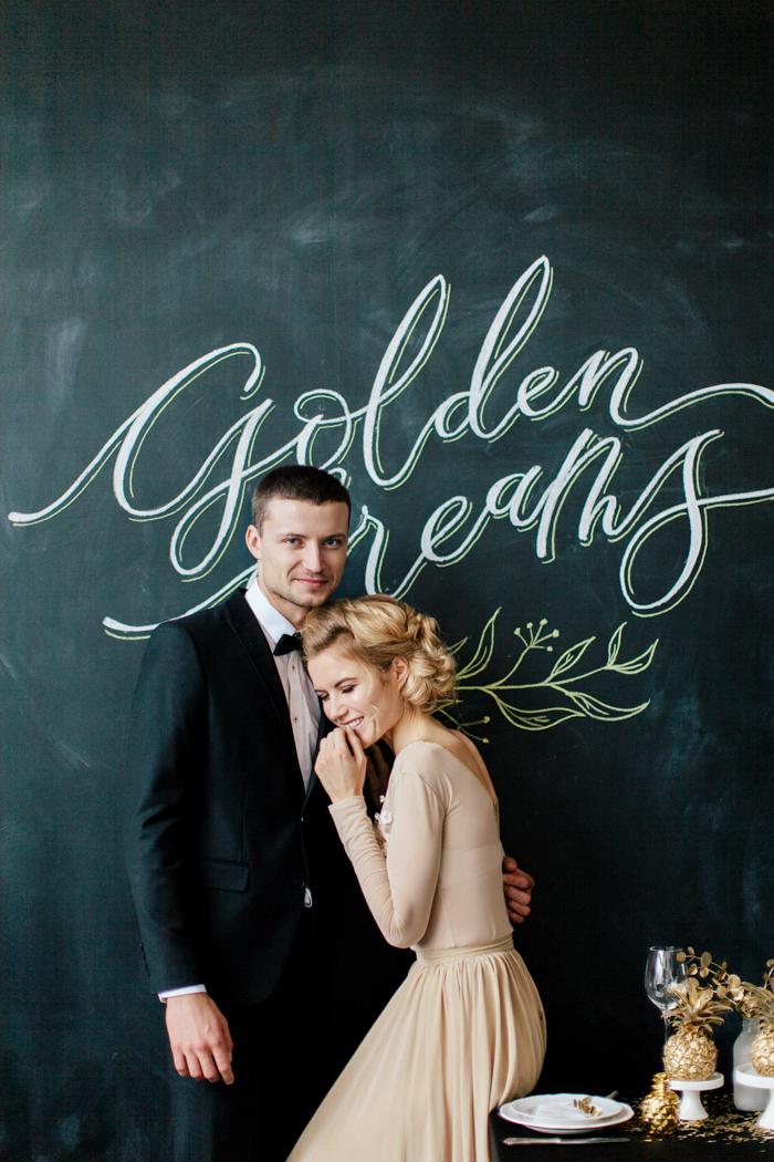 Gold themed wedding, light gold wedding dress | fabmood.com