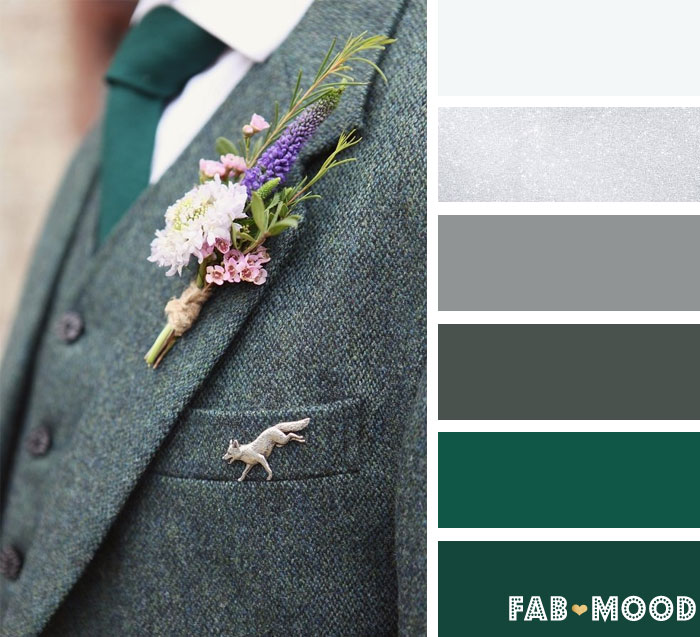 Green and Grey winter wedding color palette | fab mood