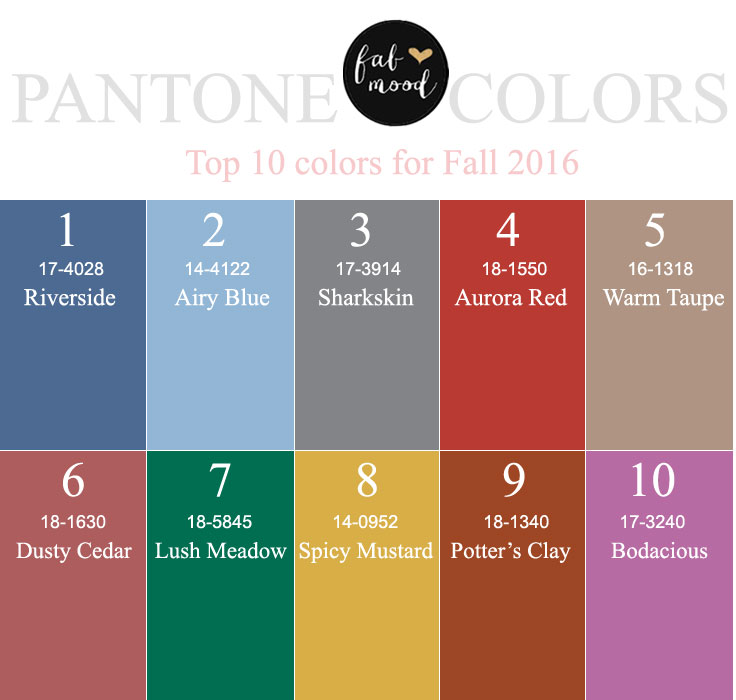 Top 10 Pantone for Fall 2016