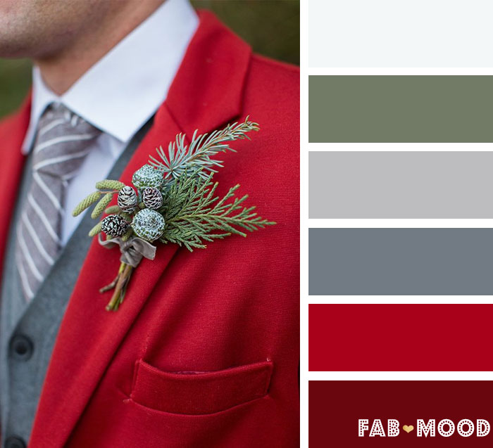 Christmasy reds and greens Winter wedding color Palette | fab mood
