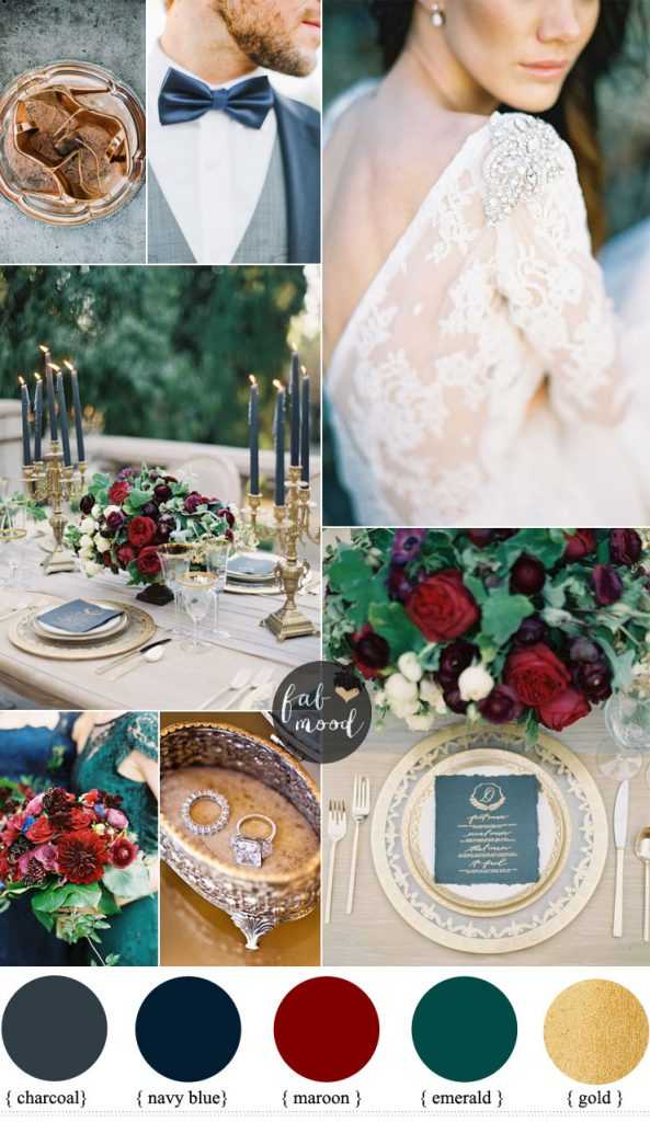 Romantic Autumn Wedding Charcoal Navy Blue Maroon And