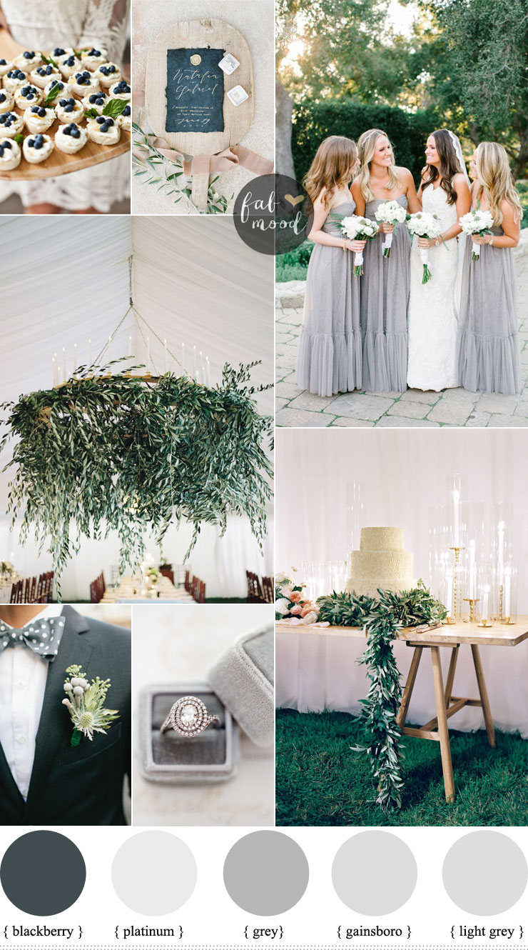 Shades of grey wedding colour theme for outdoor summer wedding for Best wedding colour themes