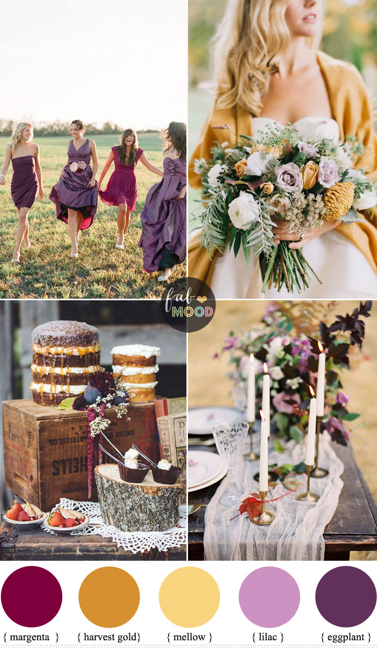 Autumn colours wedding theme { different shades of purple harvest gold ,mellow } Fab Mood #weddingcolors
