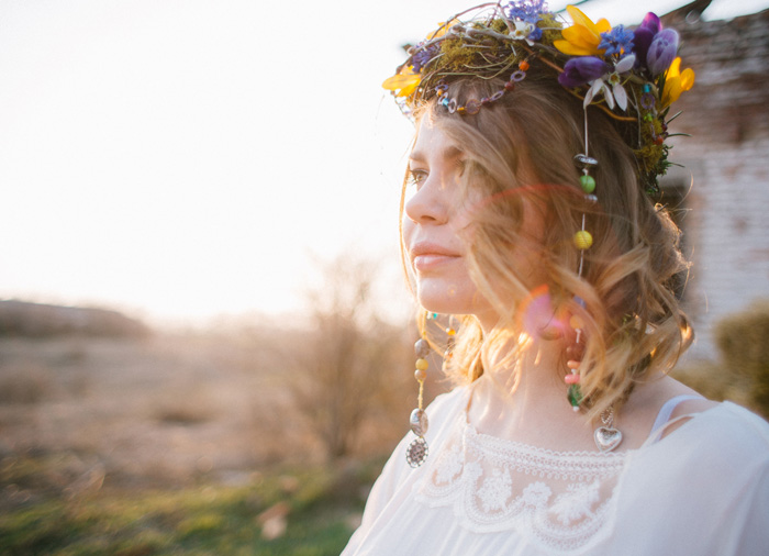 Natural,Boho Hippie Chic Wedding & Wild Flowers In Her ...