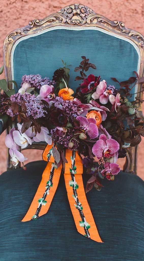 purple wedding bouquet, orchid wedding bouquet , fall wedding bouquet, autumn wedding bouquet