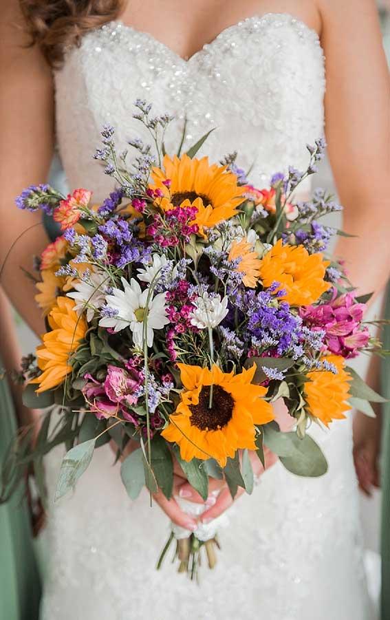 fall wedding bouquet, autumn wedding bouquet, sunflower wedding boquet