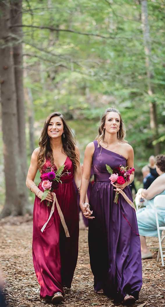 jewel tone bridesmaid dresses , magenta bridesmaid dresses , mix and match bridesmaid dresses