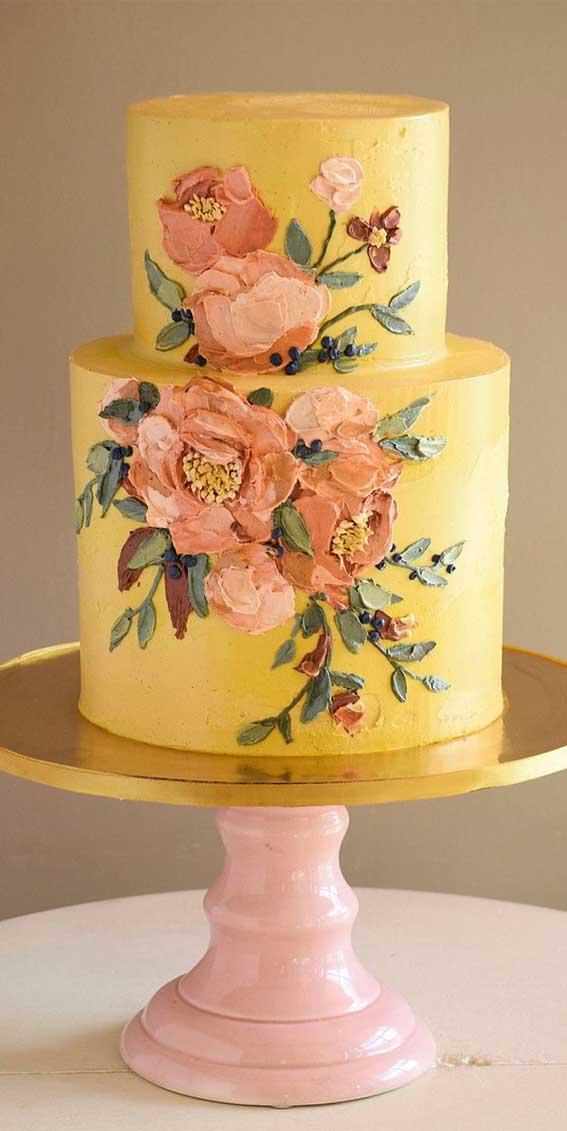 buttercream wedding cake, yellow wedding cake, wedding cake trends