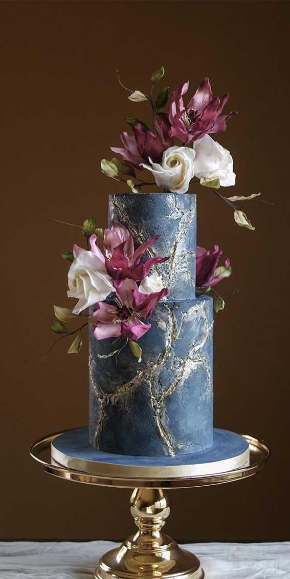 moody wedding cake, marble blue wedding cake , wedding cake ideas, autumn wedding cake