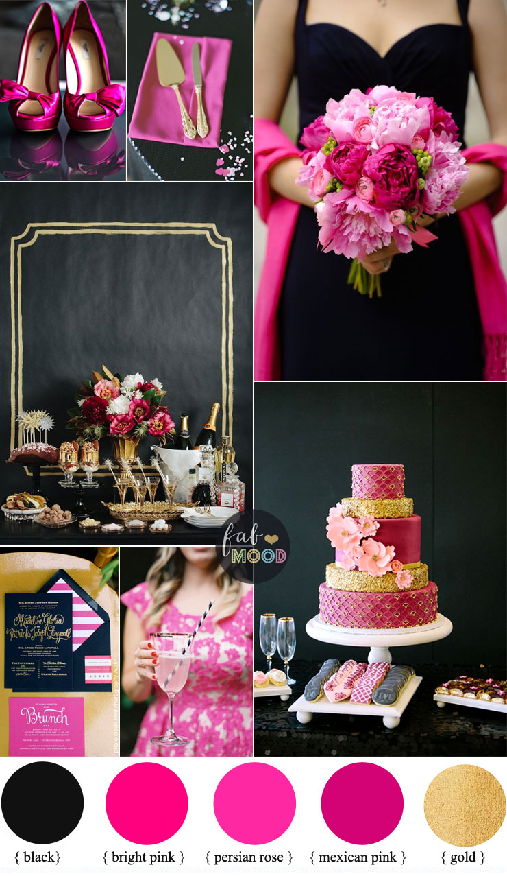 Black And Hot Pink Wedding Colour Theme Bright Pink Perisian Rose Gold