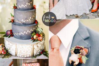 November wedding colours { Grey and Shades of Orange Wedding Palette } Fab Mood #wedding #weddingcolours
