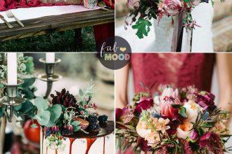 October wedding colours { Auburn + Blackberry + eggplant + cardinal + thistle } Fab Mood #weddingcolors #wedingtheme